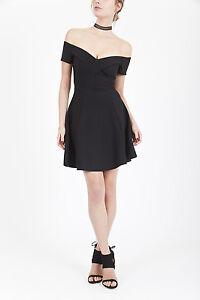 River-Island-Off-The-Shoulder-Bardot-Black-Skater-Party-Dress-Size-6-16