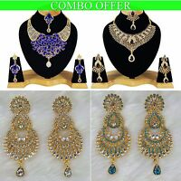 Handmade Combo Offer Gold Plated Zerconic Kundan Necklace Sets Earrings Co006