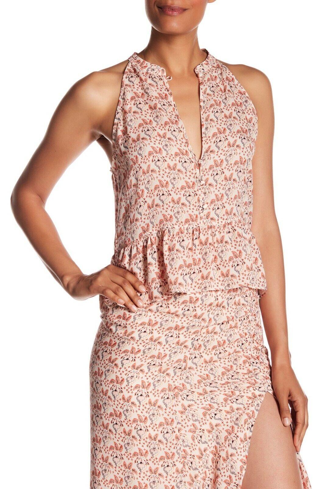 NWT  A.L.C. Binx floral ruffle button 100% Silk Top 5TOPS00039 SZ 6