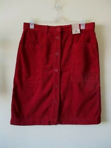 CORD-SKIRT-BURGUNDY-Red-Pencil-Pockets-Button-Up-Festival-Boho-1970s-Sz-16-NEW
