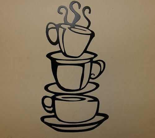 "COFFEE CUPS BLACK Kitchen Home Decor Metal Wall Art Hanging 12 3//4/"" x 7/"""