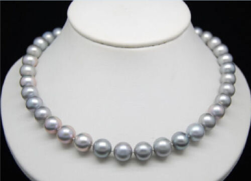 """GENUINE HUGE 9-10MM ROUND SOUTH SEA GRAY PEARL NECKLACE 18/"""" 14k GOLD CLASP"""
