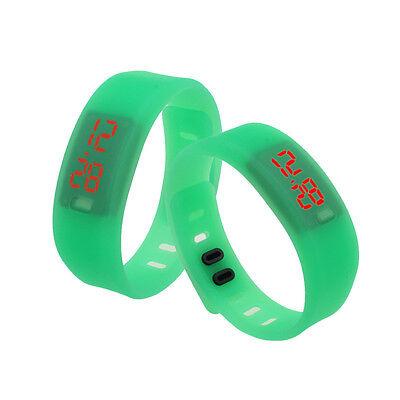 Women Men Rubber Red LED Waterproof Watch Date Sport Bracelet Digital Wristwatch