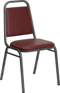 Commercial Quality Stackable Banquet Chairs With Burgundy Color Vinyl