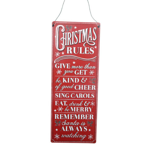 Hanging Sign Red Novelty Decoration 39cm Vintage Christmas Rules Metal Plaque
