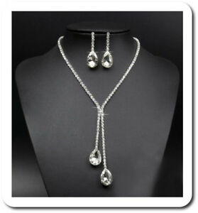 Ehrlich Set Halskette Ohrringe Strass Schmuckset Kristall Tropfen Braut Hochzeit Kette Harmonische Farben