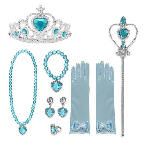 Girls Princess Accessories for Kids Dress Up Crown Necklace Gloves Earrings Set
