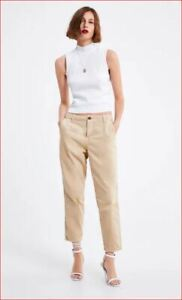 Nuevo Zara Mujer Pantalones Chinos Delgado Talle Medio 9632 046 710 Beige Eu 2 Ebay