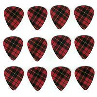 12 Pack Girls Rock Red Plaid Pattern Medium Gauge 351 Guitar Picks Plectrum