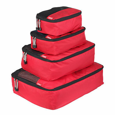NEW Zoomlite Smart Packing Cube 4 pc Set (Red) - Travel Luggage Organiser