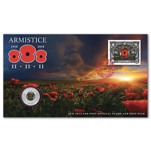 New-Zealand-ARMISTICE-2018-50c-Commemorative-Stamp-and-Coin-Pack