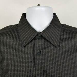 Bugatchi Uomo Black Brown Geometric Mens Dress Button Shirt Size Large L