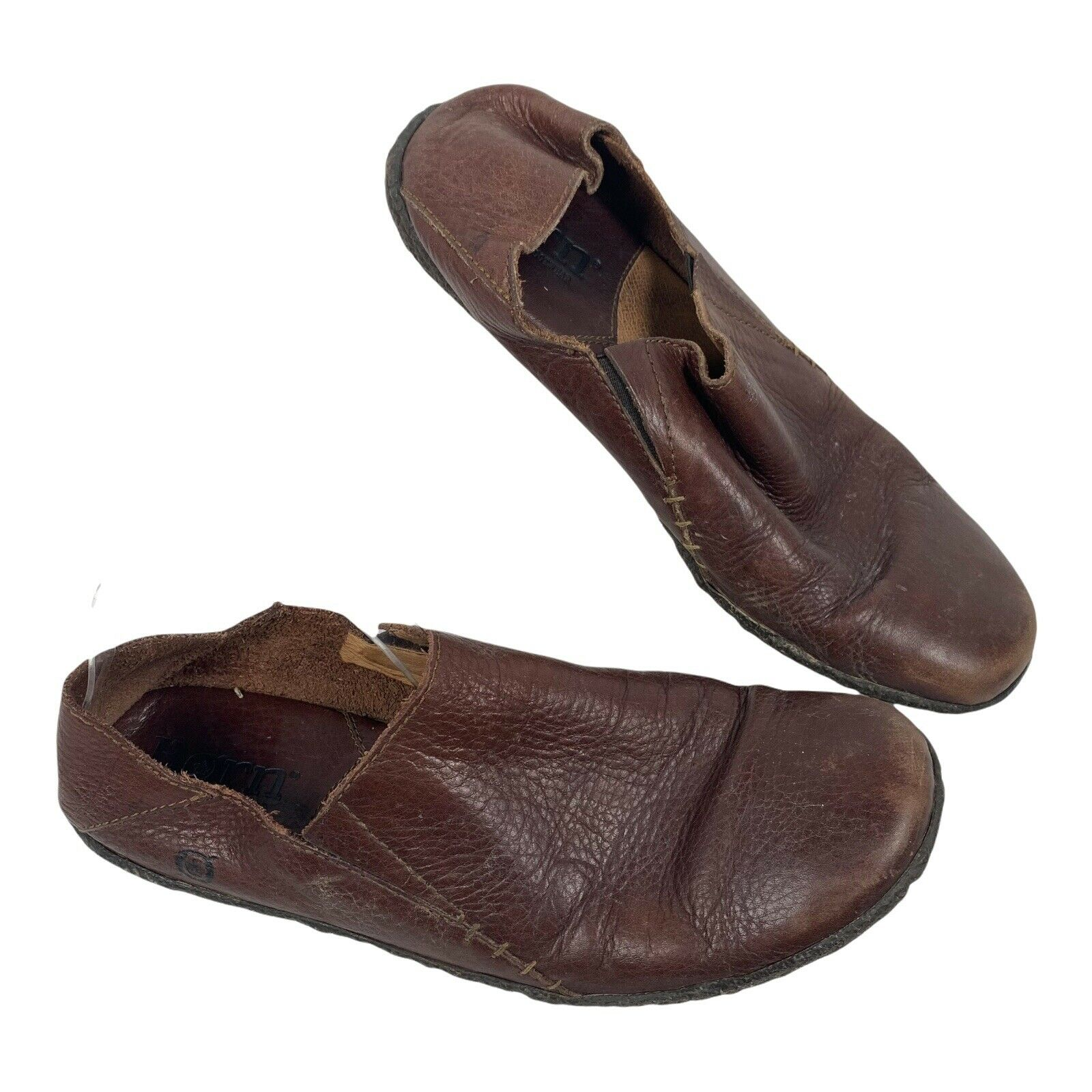 BORN Sz 9.5 Womens M6694 Brown Leather Pull On Shoe Slide Collapse Heel Flat