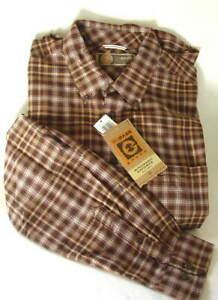 GH-BASS-Earth-Brown-Plaid-Windwash-Oxford-Cotton-Shirt-Mens-Size-XL-NEW-NWT