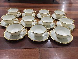 Lenox-Porcelain-Set-of-11-S8-White-amp-Gold-Encrusted-Cups-amp-Saucers