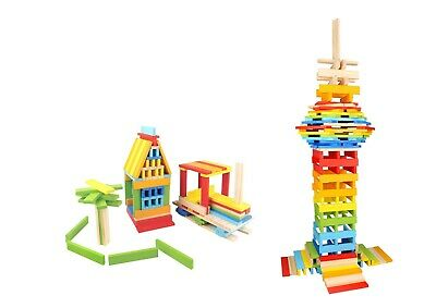 BK663 BPA-Free Wood Game ABC Number Block Set for Kids TOYSTERS 128-Piece Wooden Farm Building Blocks Shape Sorting and Recognition Interactive STEM Educational Toy Great for Fine Motor Skills