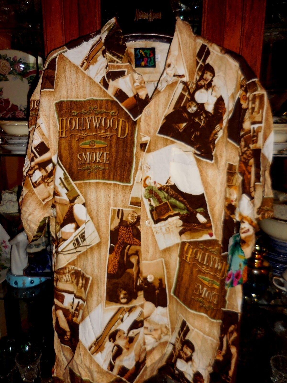 Jams World FAB HOLLYWOOD SMOKE SHOP L Cigar Lounge NEW NWT Shirt Hawaiian 52