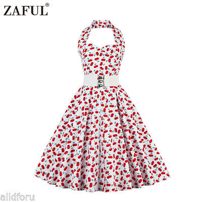 Vintage floral print Women Fashion sexy backless and ruffles Retro Halter Dress