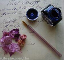 ANTIQUE Vintage 1920's HAND BLOWN TWISTED Full GLASS INK DIP PEN rose color