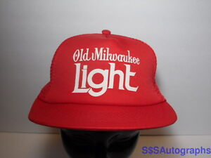 13788e39e Details about Vintage 1980s OLD MILWAUKEE LIGHT Beer Advertising Red  Snapback Hat Trucker Cap
