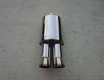 """BMW Dual Burnt 3"""" Angle Tips Exhaust Muffler E39 E46 E60 E90 E92 E36 E30 M3 DTM"""