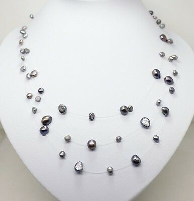 3 rows black shining star pearl beads necklace gem stone Fashion