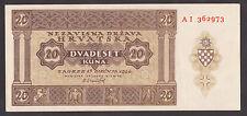 CROATIA  20 Kuna 1944  aUNC  P9a  WORLD WAR II - USTASA - NDH  RARE BANKNOTE