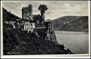 Burg-Rheinstein-Rheinland-Pfalz-Postkarte-1940-ab-Koblenz-gelaufen-Partie-Burg
