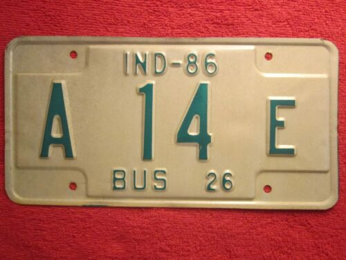 13 Choice LICENSE PLATE Bus Tag 26 1986 INDIANA A 10  E 12 Z223 11