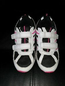 d63b957cf30ac Details about GIRLS SHOES SIZE 3 SNEAKERS TRAINERS WHITE PINK BLACK NO LACES