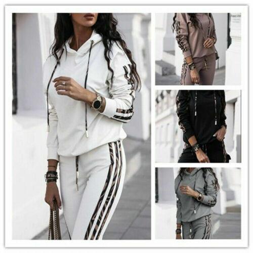 2PCS Womens Tracksuits Set Loose Hooded Ladies Loungewear Stripes Tops Pants