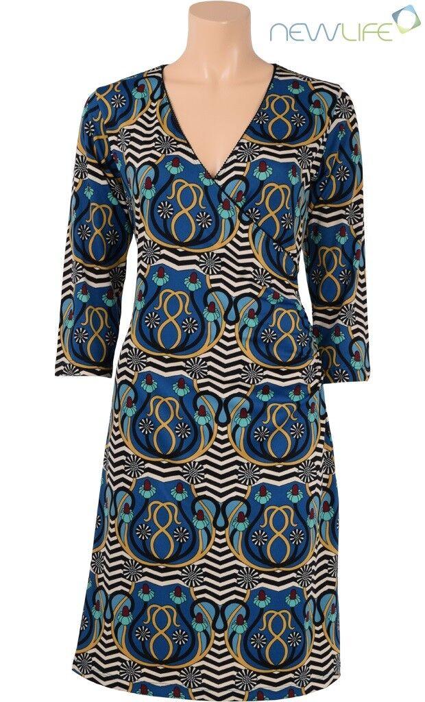 King Louie Kleid Cross Dress Cezanne 3 4 Ärmel Retro Look blau Grün