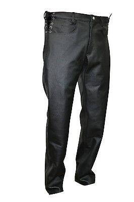 Waist Laces Men's Thick Cow Leather Jeans Model Pant New All Sizes