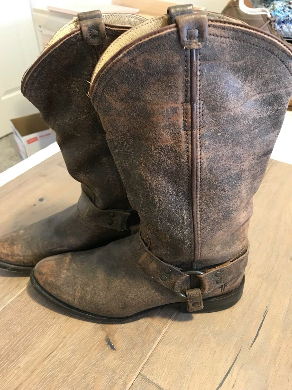 Frye Harness Tall Boots Distressed Brown Leather Size 7.5B