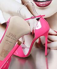 1969 ITALY LACK LEDER ROSA HOHE Luxus Pink High Heels G54 Sandalen Pumps Leather