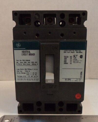 p//n TED136040 GE ED /& C 600 VAC 40 AMP 3-POLE Industrial Circuit Breaker