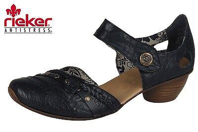 Rieker Damen Schuhe Mary Jane Schwarz Pumps Leder hTdHw