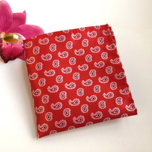 Men Fashion Red Paisley Silk Neck Tie Pocket Square Handkerchief Set Lot HZ075