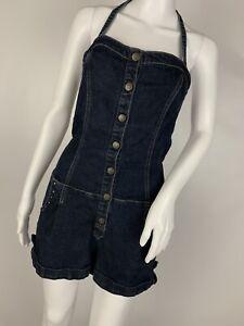 Grane-Halter-Strap-Denim-Jean-Short-Overalls-Shortalls-Size-L