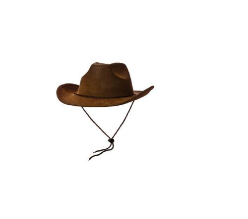 NUOVO Super Deluxe Marrone in Pelle Scamosciata Cowboy Hat-Wicked Costume Accessori