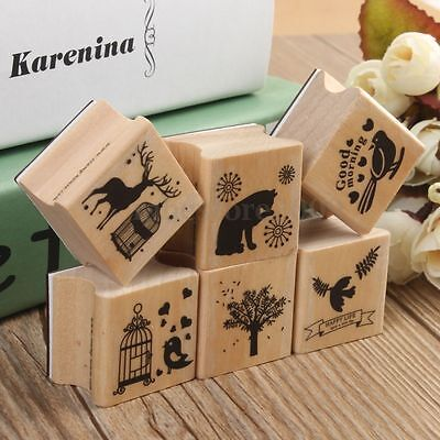 Cute DIY Retro Vintage Forest Animal Diary Album Scrapbook Wooden Rubber Stamp
