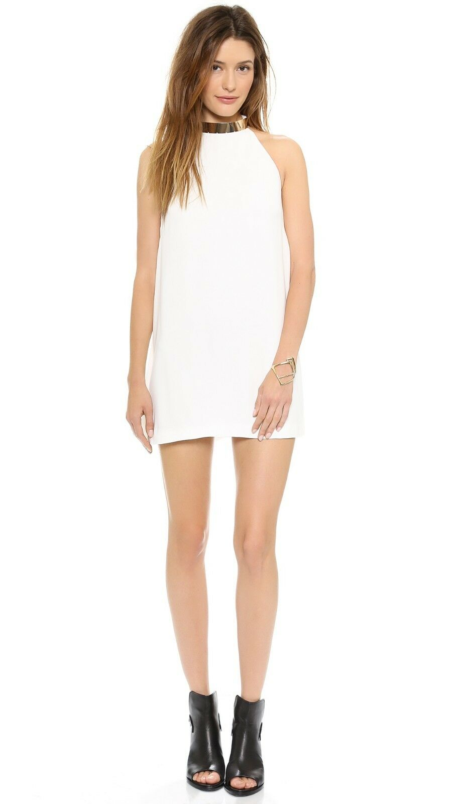 NEW Keepsake Reckless Mini Dress in Ivory Weiß swing halter crepe - Small