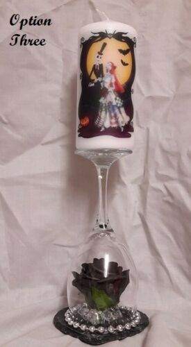 nightmare before christmas candle /& wine glass candle holder 4 different options