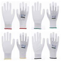 1-240 Paar Nylon Arbeitshandschuhe weiss PU Handschuhe Montagehandschuhe