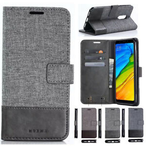 best sneakers b8b0c b65e8 Details about For Xiaomi Redmi 5 5Plus Magnetic Flip Canvas PU Leather  Wallet Case Cover Stand