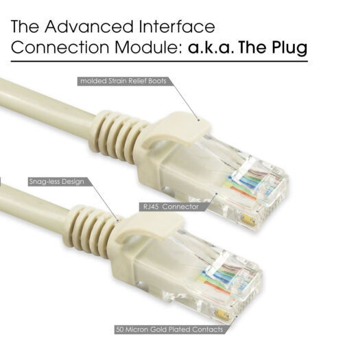 Snagless UTP Patch Cable ETHERNET LAN NETWORK LEAD 10//100 50ft Cat5e enhanced