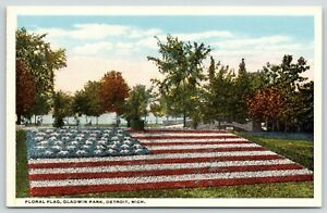 Detroit-Michigan-Gladwin-Park-45-Star-US-Floral-Flag-1908-Postcard