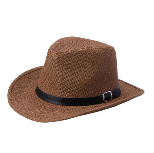 Men Women Straw Cowboy Cap Hat Wide Brim Summer Sun Beach Hat Modern