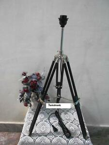 NAUTICAL-STAGE-VINTAGE-TRIPOD-TABLE-LAMP-BLACK-TRIPOD-LAMP-STAND-SHADE-HAND-MADE