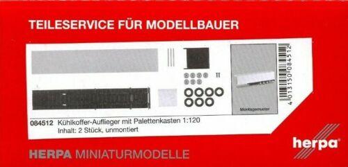 2 #084512 Bausatz, HERPA 1:120//TT LKW Kühlkoffer-Auflieger mit Palettenkasten